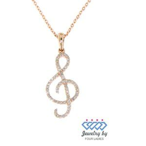 Solid Musical Note S Diamond Pendant